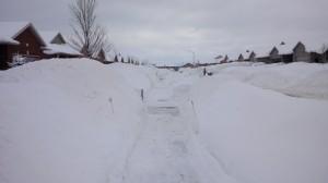 Snow Banks Along Sidewalks